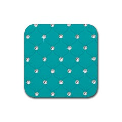 Turquoise Diamond Bling Rubber Drinks Coaster (Square)