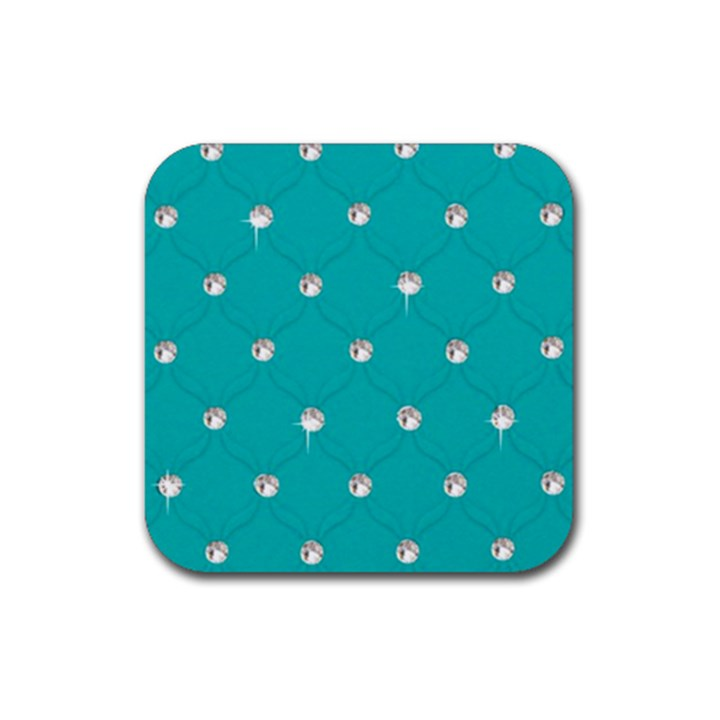 Turquoise Diamond Bling 4 Pack Rubber Drinks Coaster (Square)