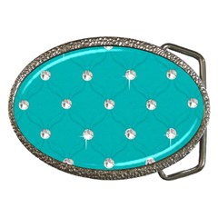 Turquoise Diamond Bling Belt Buckle (Oval)