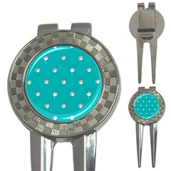 Turquoise Diamond Bling Golf Pitchfork & Ball Marker