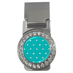 Turquoise Diamond Bling Money Clip with Gemstones (Round)