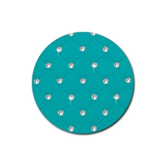 Turquoise Diamond Bling Rubber Drinks Coaster (Round)