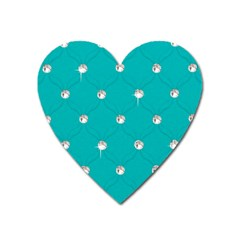 Turquoise Diamond Bling Large Sticker Magnet (Heart)
