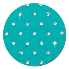Turquoise Diamond Bling Extra Large Sticker Magnet (Round)