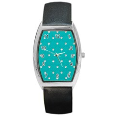 Turquoise Diamond Bling Black Leather Watch (tonneau)