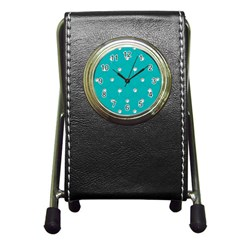 Turquoise Diamond Bling Stationery Holder Clock
