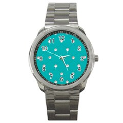 Turquoise Diamond Bling Stainless Steel Sports Watch (Round)