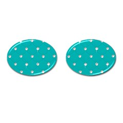Turquoise Diamond Bling Oval Cuff Links