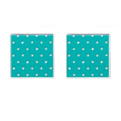 Turquoise Diamond Bling Square Cuff Links