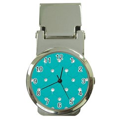 Turquoise Diamond Bling Chrome Money Clip With Watch