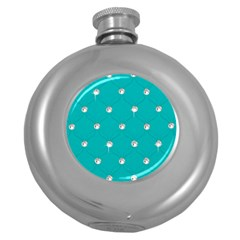 Turquoise Diamond Bling Hip Flask (round)