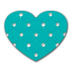 Turquoise Diamond Bling Mouse Pad (Heart)
