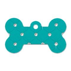 Turquoise Diamond Bling Single-sided Dog Tag (Bone)