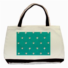 Turquoise Diamond Bling Twin Sided Black Tote Bag