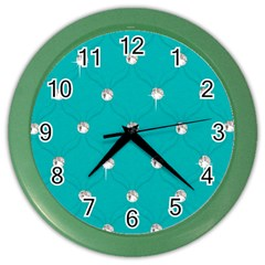Turquoise Diamond Bling Colored Wall Clock