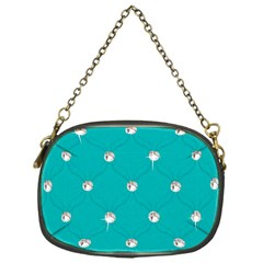 Turquoise Diamond Bling Single-sided Evening Purse