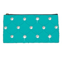 Turquoise Diamond Bling Pencil Case