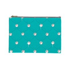 Turquoise Diamond Bling Large Makeup Purse