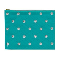 Turquoise Diamond Bling Extra Large Makeup Purse