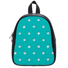 Turquoise Diamond Bling Small School Backpack