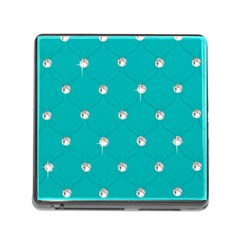 Turquoise Diamond Bling Card Reader with Storage (Square)