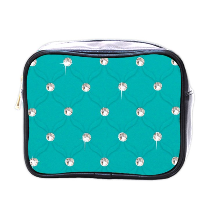 Turquoise Diamond Bling Single-sided Cosmetic Case