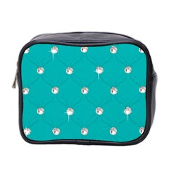 Turquoise Diamond Bling Twin-sided Cosmetic Case