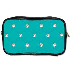 Turquoise Diamond Bling Single Sided Personal Care Bag
