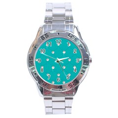 Turquoise Diamond Bling Stainless Steel Analogue Watch (round)