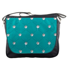 Turquoise Diamond Bling Messenger Bag
