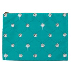 Turquoise Diamond Bling Cosmetic Bag (xxl)