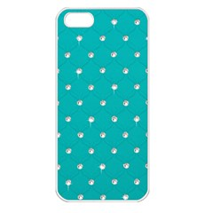 Turquoise Diamond Bling Apple iPhone 5 Seamless Case (White)