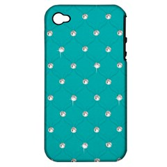 Turquoise Diamond Bling Apple iPhone 4/4S Hardshell Case (PC+Silicone)