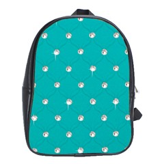 Turquoise Diamond Bling School Bag (XL)