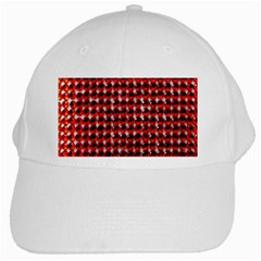 Deep Red Sparkle Bling White Baseball Cap