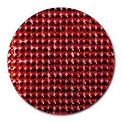 Deep Red Sparkle Bling 8  Mouse Pad (Round)