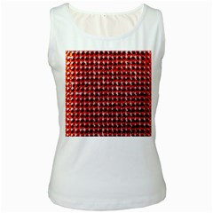 Deep Red Sparkle Bling White Womens  Tank Top