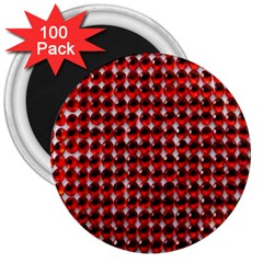 Deep Red Sparkle Bling 100 Pack Large Magnet (Round)
