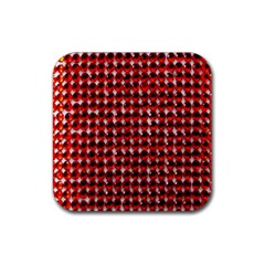 Deep Red Sparkle Bling 4 Pack Rubber Drinks Coaster (square)