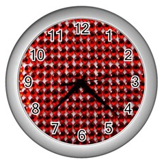 Deep Red Sparkle Bling Silver Wall Clock