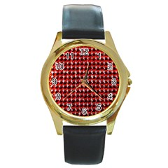Deep Red Sparkle Bling Black Leather Gold Rim Watch (round)