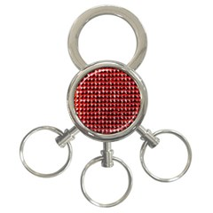 Deep Red Sparkle Bling 3-Ring Key Chain