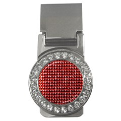 Deep Red Sparkle Bling Money Clip With Gemstones (round)