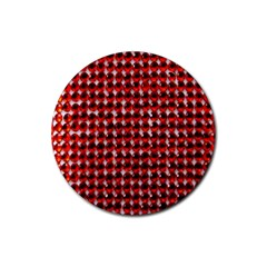 Deep Red Sparkle Bling 4 Pack Rubber Drinks Coaster (Round)