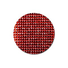 Deep Red Sparkle Bling Large Sticker Magnet (Round)
