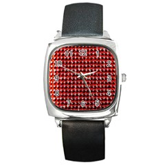 Deep Red Sparkle Bling Black Leather Watch (Square)
