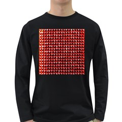 Deep Red Sparkle Bling Dark Colored Long Sleeve Mens'' T-shirt