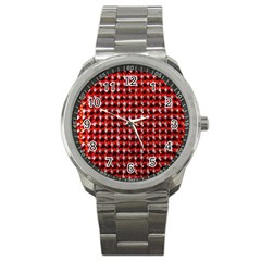 Deep Red Sparkle Bling Stainless Steel Sports Watch (Round)