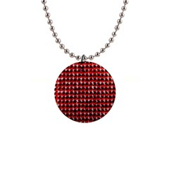 Deep Red Sparkle Bling Mini Button Necklace