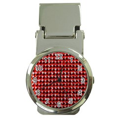 Deep Red Sparkle Bling Chrome Money Clip with Watch